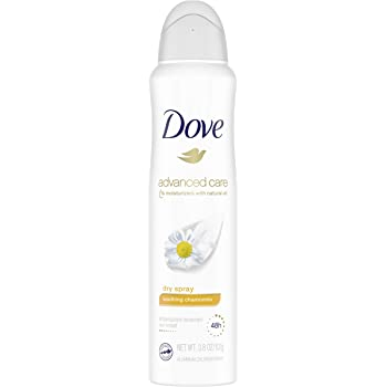 Dove Advanced Care Dry Spray Antiperspirant Deodorant for Women, Soothing Chamomile, for 48 Hour Protection And Soft And Comfortable Underarms, 3.8 oz