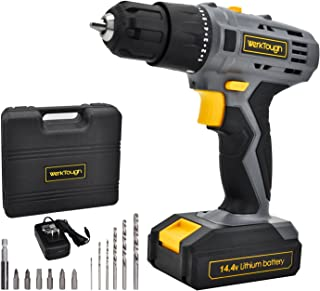 14.4V Cordless Drill Driver 2 Variable Speed Powerful Li-ion Screwdriver Battery Charger Included D018 by Werktough