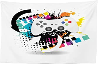 Lunarable Gamer Tapestry, Modern Console Game Controller with Halftone Motif and Color Splashes Background, Fabric Wall Hanging Decor for Bedroom Living Room Dorm, 45