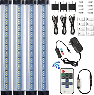 LXG 12in Dimmable LED Under Cabinet Lighting, 12W 5000K Daylight 1000LM, Clear Cover Led Strips,11key Remote Control ,4 Pack