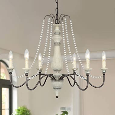 Lampundit 6-Light Farmhouse Chandelier with Crystal Beads, French Country Chandelier for Dining Room, Foyer, Living Room, Kit