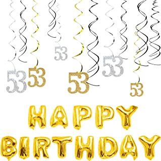 MAGJUCHE 53th Birthday Decorations Kit-Gold Silver Glitter Happy 53 years old Birthday Banner & Sparkling Celebration Hanging Swirls, Party Supplies