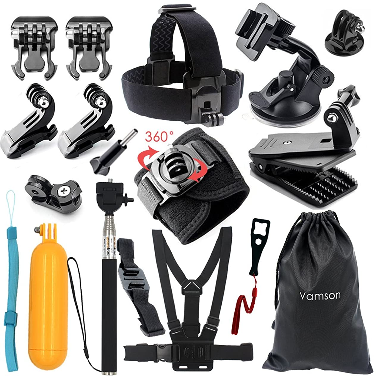 Vamson 18 in 1 Accessories Kit for GoPro Hero 6 5 4 3+ Session Accessory Bundle Set for Action Camera SJ4000 SJ5000 SJ6000 Xiaomi Yi-Flotation Handle+Head Strap+Chest Strap ezgmiilp765