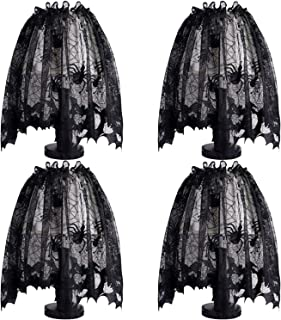 Trounistro 4 Pack Halloween Spider Web Lampshades Window Door Fireplace Mantle Scarf Cover for Halloween Party Décor