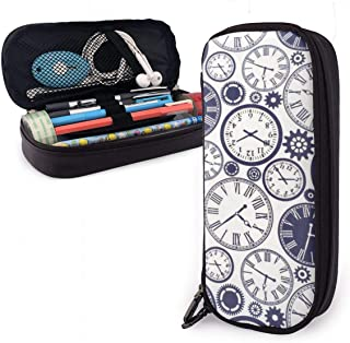 AKLID Vintage Steampunk Clock PU Leather Pencil Case,Large Capacity Pen Bag,Durable Students Stationery Organizers with Double Zipper Elastic Belts for School Office 1.5in X 3.5 X 8 in
