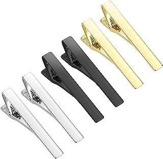 ست کلیپ های کراوات SASFOU 6 قطعه ، کلیپ های کراوات رسمی بلند بهترین هدیه برای کلیپ های کراوات تجاری سالگرد مردان و زندگی روزمره ، طلای نقره ای سیاه