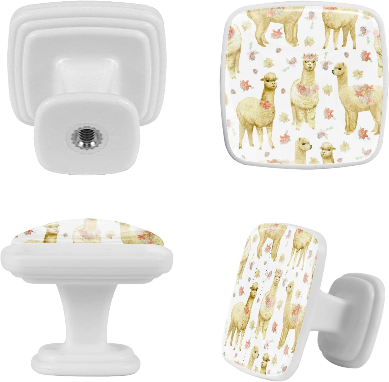 Cabinet Knob Square Door Knobs Mushroom Shape Pull Handle with Screws for Cabinet Wardrobe Drawer Cupboard 4 Pieces White Cartoon Tarot 1.18x0.82x0.78 in