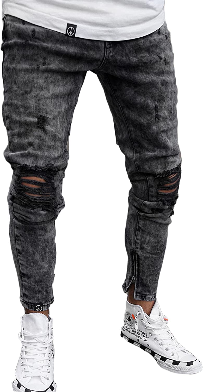 Andongnywell 2021 Free shipping / New autumn and winter new Men's Ripped Destroyed Stretchy Holes Slim Tap Knee
