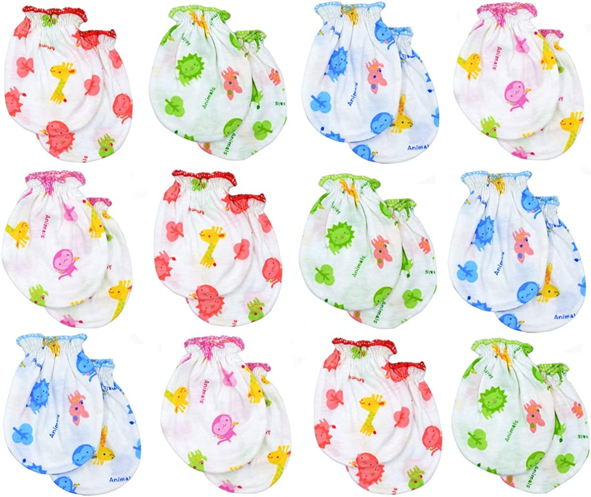 Liwely 12 Pairs Baby No Scratch Assorted Mittens, 100% Cotton, For 0-6 Months Boys Girls, Assorted Set
