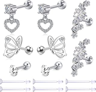 Zolure 16G Stainless Steel Stud Earrings for Women Cartiliage Earring Tragus Helix Piercing Curbic Zirconia with Clear Retainers
