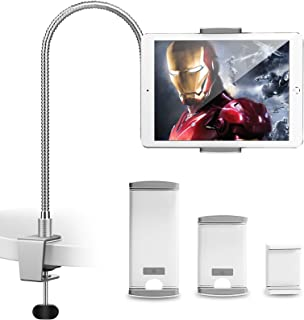 AboveTEK iPhone Gooseneck Holder, Heavy Duty Aluminum Tablet Stand iPad Holder for Bed Kitchen Office, Flexible Long Arm M...