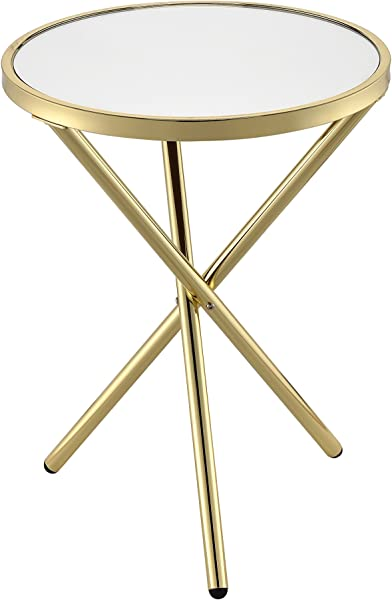 Acme Furniture 81817 Lajita Side Table One Size Mirror And Gold