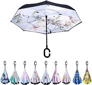 【サンマドラ】長傘 逆さ傘 レディース おしゃれ 晴雨兼用 UVカット 可愛い 遮光遮熱 手離れC型ハンドル 耐風撥水 ビジネス用 車用 ホワイト