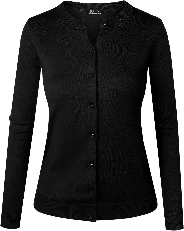 BH B.I.L.Y USA Women's Unique Button Long Sleeve Soft Knit Cardigan Sweater Black XXXLarge