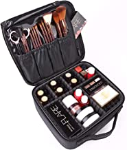 House of Quirk Makeup Cosmetic Storage Case with Adjustable Compartment - Black(25x22x9cm)