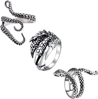 Octopus Ring Dragon Ring Snake Rings for Women Ouroboros Ring for Men Tentacle Ring Adjustable Goth Punk Jewelry