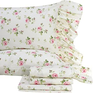 Queen's House Rose Floral Bed Sheet Set 4-Piece Queen Size-Style I