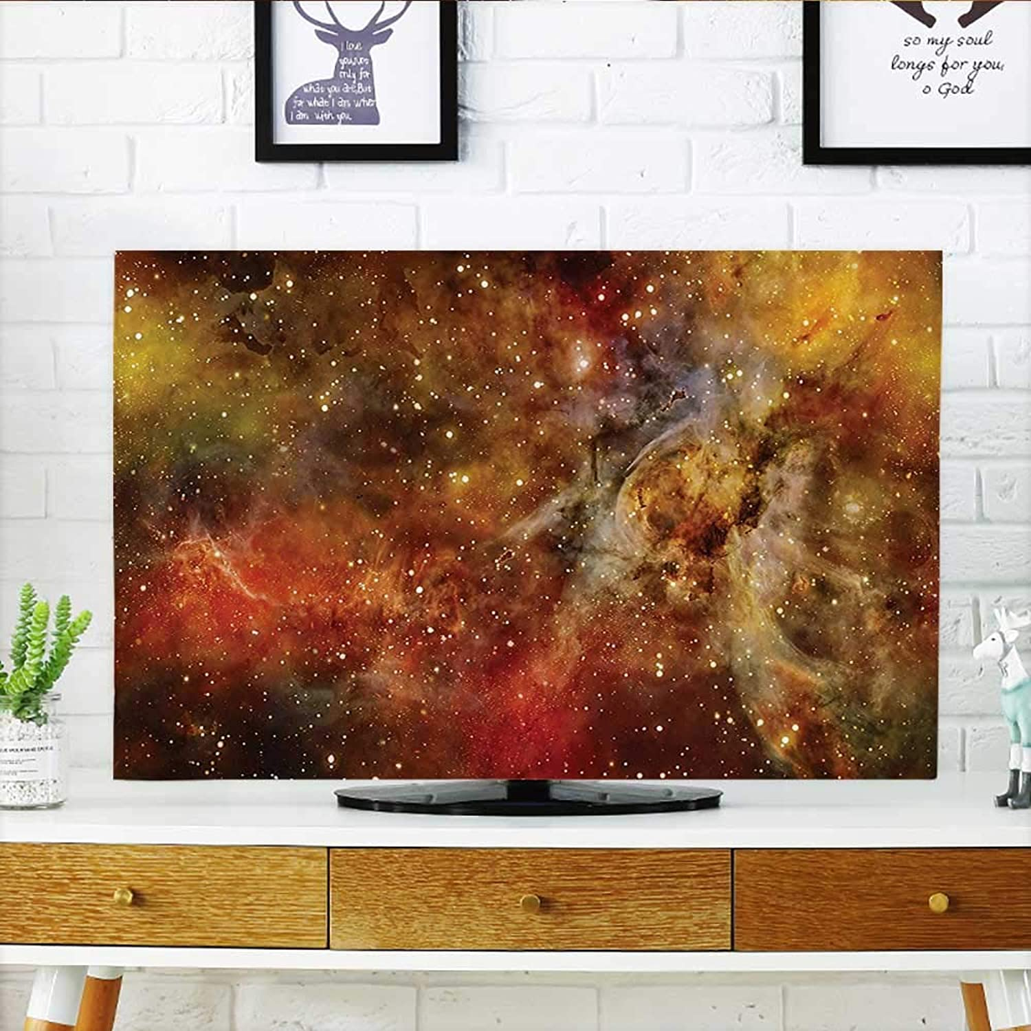 Jiahonghome Cover for Wall Mount tv Collection Nebula in Deep Outer Space with Star Clusters Astro Lights Galaxy Universe Cover Mount tv W32 x H51 INCH TV 55
