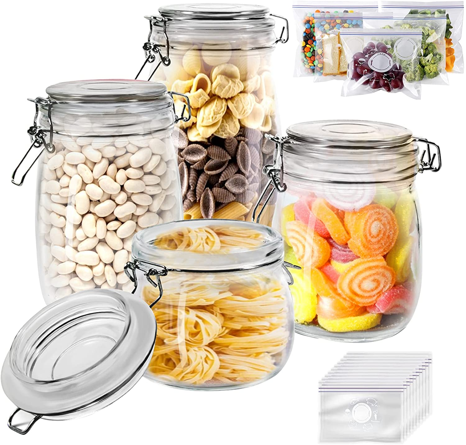 Glass Jars Set 4 Pieces 70% OFF Outlet discount with St Lids Airtight Preserving Kitchen