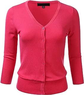 Women's Button Down 3/4 Sleeve V-Neck Stretch Knit Cardigan Sweater (S-3X)