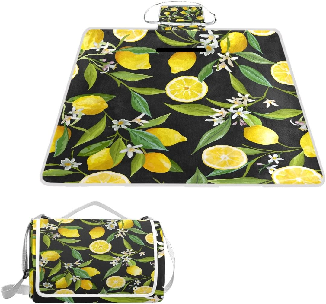 Lemon Flower Outdoor New color Handy Picnic G Mat Blanket Cover Waterproof Beauty products