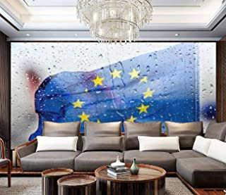AFWADFWA Peel and Stick Wallpaper European Flag Behind a Glass Panel with Raindrops Through a Broken Wall Landscape Wall P...