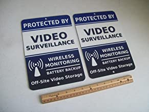 2 Video Surveillance Security System 7x10 Metal Yard Signs - Stock # 718