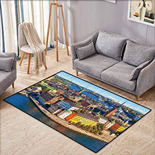 Children's Rug Wanderlust Decor Collection Scenic Summer Aerial Panorama of The Old Town Gamla Stan in Stockholm Sweden Image Blue Yellow Non-Slip Backing W7'8 xL4'9