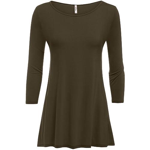 976d999ec84 Simlu Womens Tunic Tops for Leggings Reg and Plus Size 3 4 Sleeve Tunic  Shirt