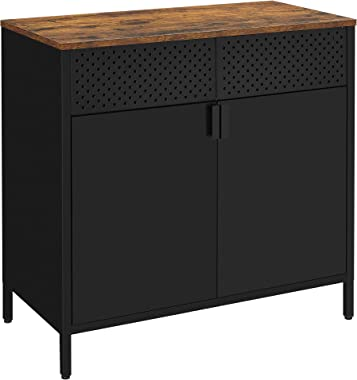 SONGMICS Storage Sideboard, Buffet Table with Adjustable Shelves, Floor Storage Cupboard, Steel Frame, Cabinet for Dining Roo