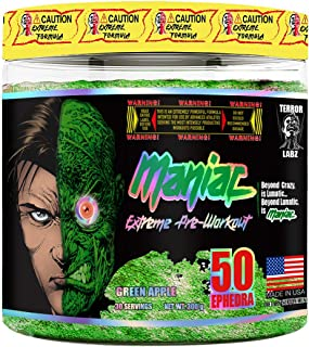 Terror Labz, Maniac, Extreme Pre Workout Powder for Men and Women, Energy, Focus and Intensity, Thermogenic Fat Burner for Men & Women, Made in USA (Green Apple)