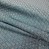 Stoff Baumwollstoff Meterware petrol weiß grau Japan