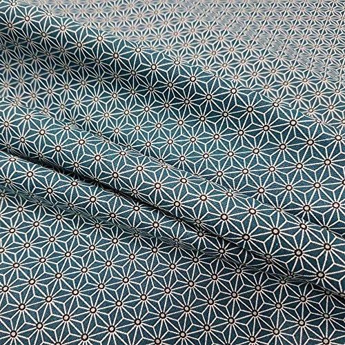 Werthers Stoffe Stoff Baumwollstoff Meterware Petrol weiß grau Japan Asanoha Graphik Kimono