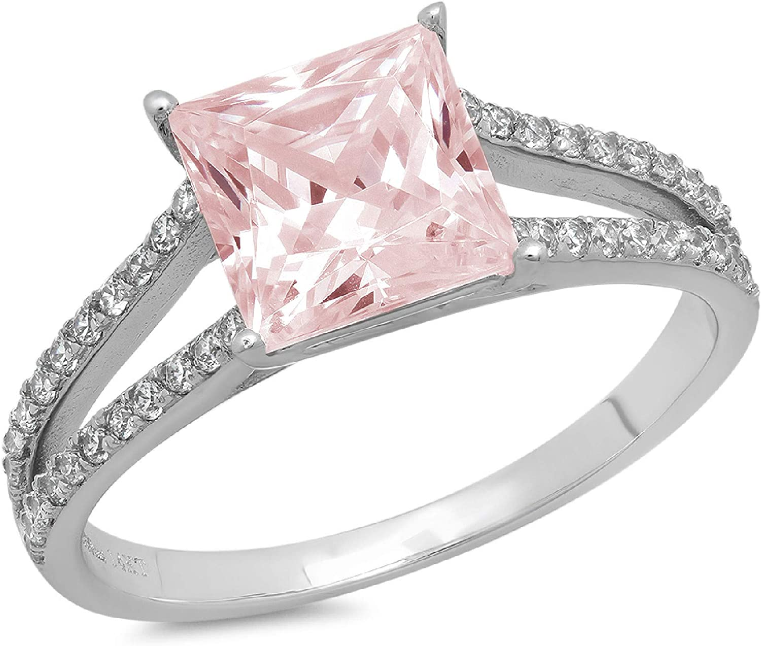 2.42 ct Princess Cut Solitaire Accent split shank Genuine Flawless Pink Simulated Diamond Gemstone Engagement Promise Statement Anniversary Bridal Wedding Ring Solid 18K White Gold