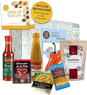 Geburtstagsgeschenk für Männer und Frauen Spice up your life Gewürz Set   Scharfe Saucen Scharfe Gewürze Geschenkset Chili zum Geburtstag