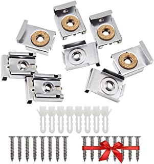 SelfTek 8 Pieces Bathroom Mirror Hanger Clips Set with Screws,Rawl Plugs and Extra Free 8 Pcs Screws