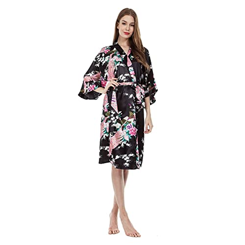Women s Long Satin Kimono Robe Floral Printed Dressing Gown Bathrobe  Nightwear with Belt 959962bb4
