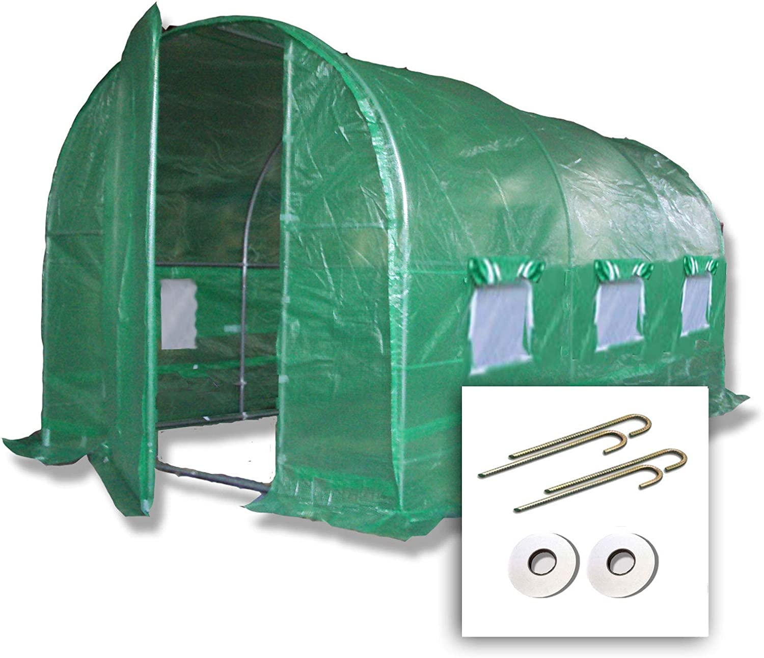 4m x 2m Polytunnel + Ground Anchor Kit Strongest In It's Class  a fully Galvanised Structure with more Diagonal & Roof Bracing than all others. Metal Hinged Door   Groundbar Kit