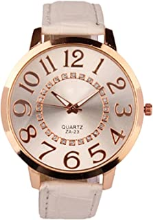 Sanwood Unisex Big Numerals Rhinestone Faux Leather Wrist Watch (White)