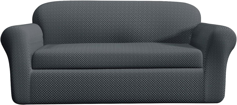 DyFun 2-Piece Jacquard Spandex Stretch Living Room Slipcovers (Sofa, Grey)