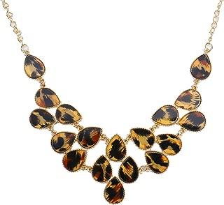 Monrocco Chunky Teardrop Leopard Tortoise Shell Bib Statement Necklace for Women Girls