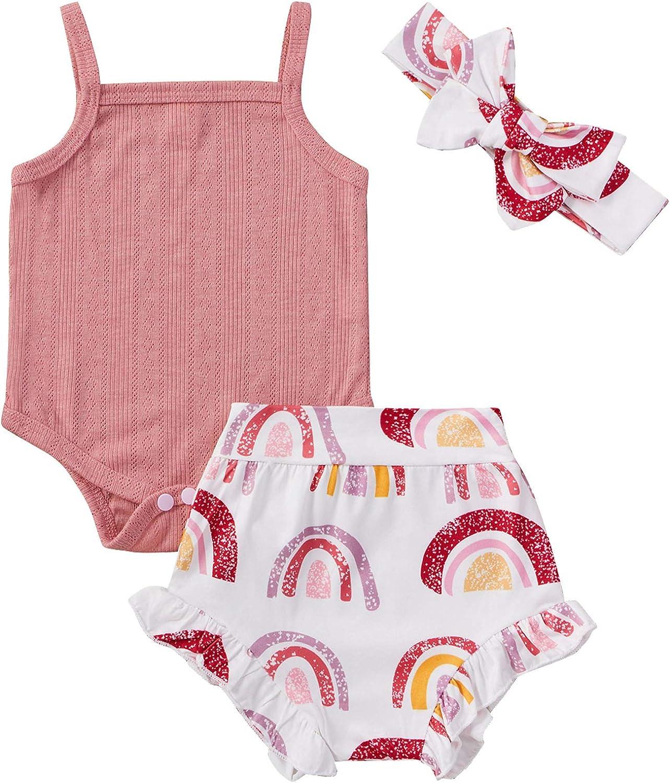Baby Girl Solid Color Halter Romper Tutu Shorts with Headband Short Sets