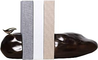 Bookends Brown Stone Bookend مع دفاتر راتنج الطيور الذهبي 1 زوج 2.65KG5.8LB سدادات كتاب 29x13cm11.4x5.1in حامل كتاب الثقيل...