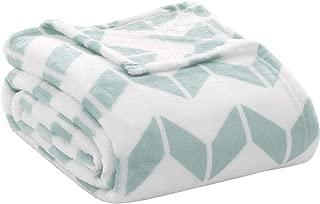 Intelligent Design Chevron Luxury Plush Blanket Aqua 90x92 Chevron Premium Soft Cozy Ultra Soft Microfiber For Bed, Couch or Sofa