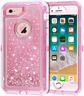 iPhone 6S Plus Case, iPhone 6 Plus Case, Anuck 3 in 1 Hybrid Heavy Duty Defender Case Sparkly Floating Liquid Glitter Protective Hard Shell Shockproof TPU Cover for iPhone 6 Plus/6S Plus - Pink