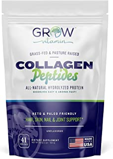 Collagen Peptides - Hair, Skin, Nail, and Joint Support - Type I & III Collagen - All-Natural Hydrolized Protein - 41 Serv...