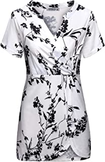 MOQIVGI Womens Split V Neck Short Sleeve Striped Chiffon Blouse Shirt Tops
