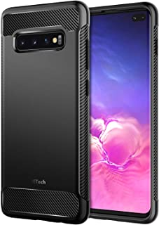 JETech Case for Samsung Galaxy S10 Plus S10+, Protective Cover with Shock-Absorption and Carbon Fiber Design, Black