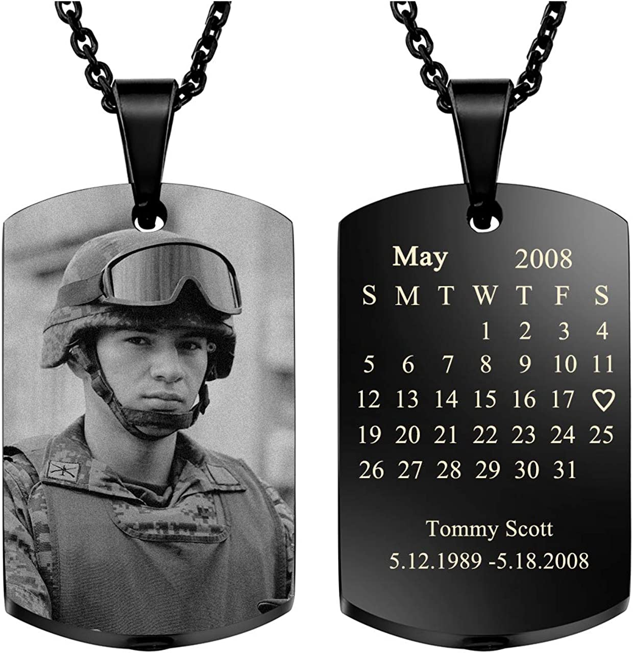 Jovivi Personalized Custom Photo/Special Date Calendar Necklace Engraved Text Dog Tags Urn Necklaces for Ashes Military Memorial Keepsakes Pendant Cremation Jewelry