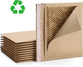Fuxury #2 11x8.5 Inches Natural Honeycomb Padded Envelopes with patents, 100% Recycled Kraft Paper Fibers Cushioning Protected Padded Envelopes 10pcs